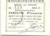 France 2 Francs Noyon City - 1915