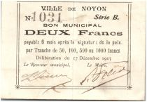 France 2 Francs Noyon City - 1915