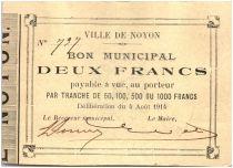 France 2 Francs Noyon Ville - 1914
