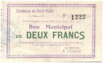France 2 Francs Petit-Verly Bon Municipal - 1915
