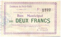 France 2 Francs Petit-Verly Bon Municipal - 1915