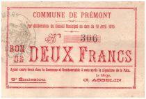 France 2 Francs Premont Commune - 1915
