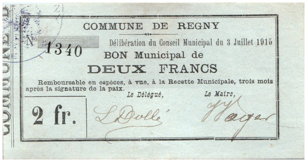 France 2 Francs Regny Commune - 1915