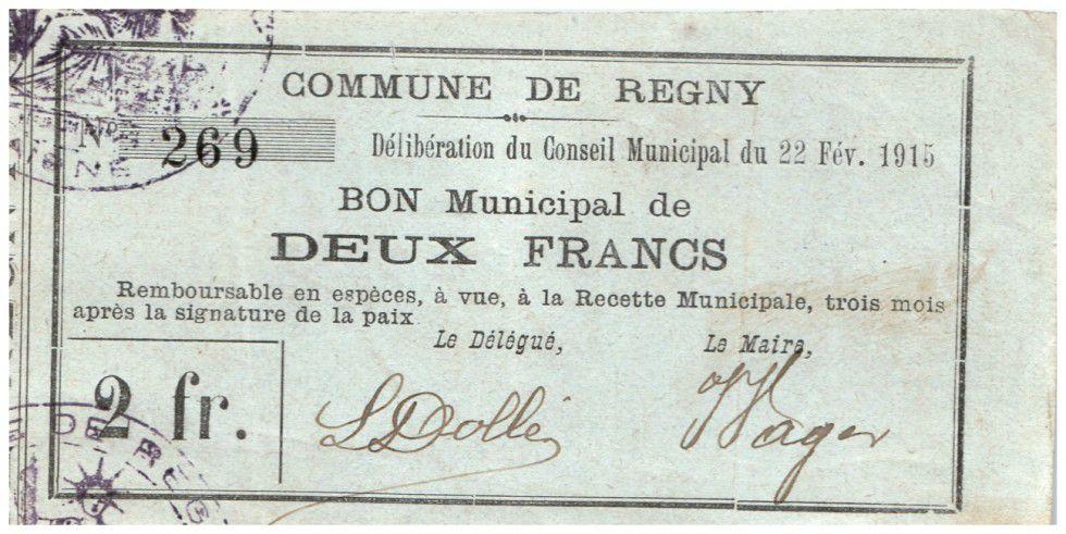 France 2 Francs Regny Commune - 1915