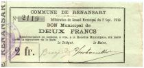 France 2 Francs Renansart City - 1915