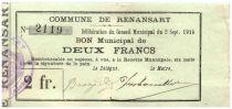 France 2 Francs Renansart Commune - 1915
