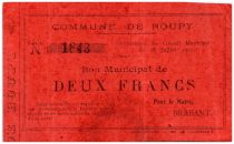 France 2 Francs Roupy Commune - 1915