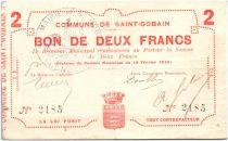 France 2 Francs Saint-Gobain Commune - 1915