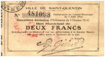 France 2 Francs Saint-Quentin Commune - 1915