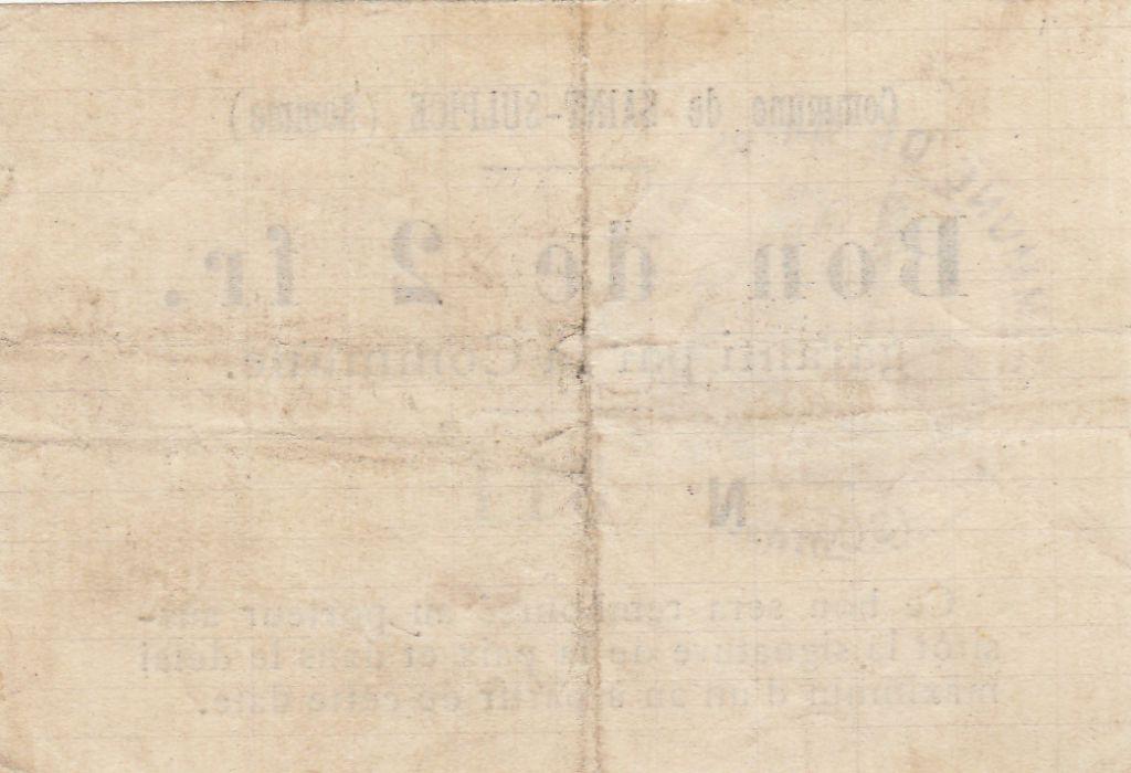 France 2 Francs Saint-Sulpice - N311 - 22/03/1915