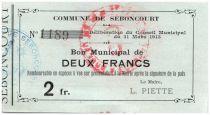 France 2 Francs Seboncourt City - 1915