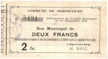 France 2 Francs Seboncourt Commune - 1915