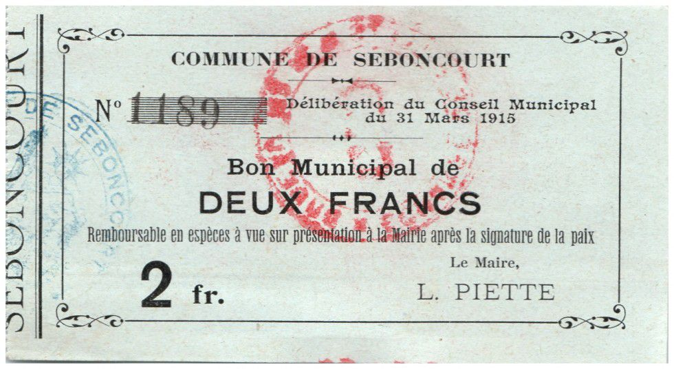 France 2 Francs Seboncourt Commune - 1915