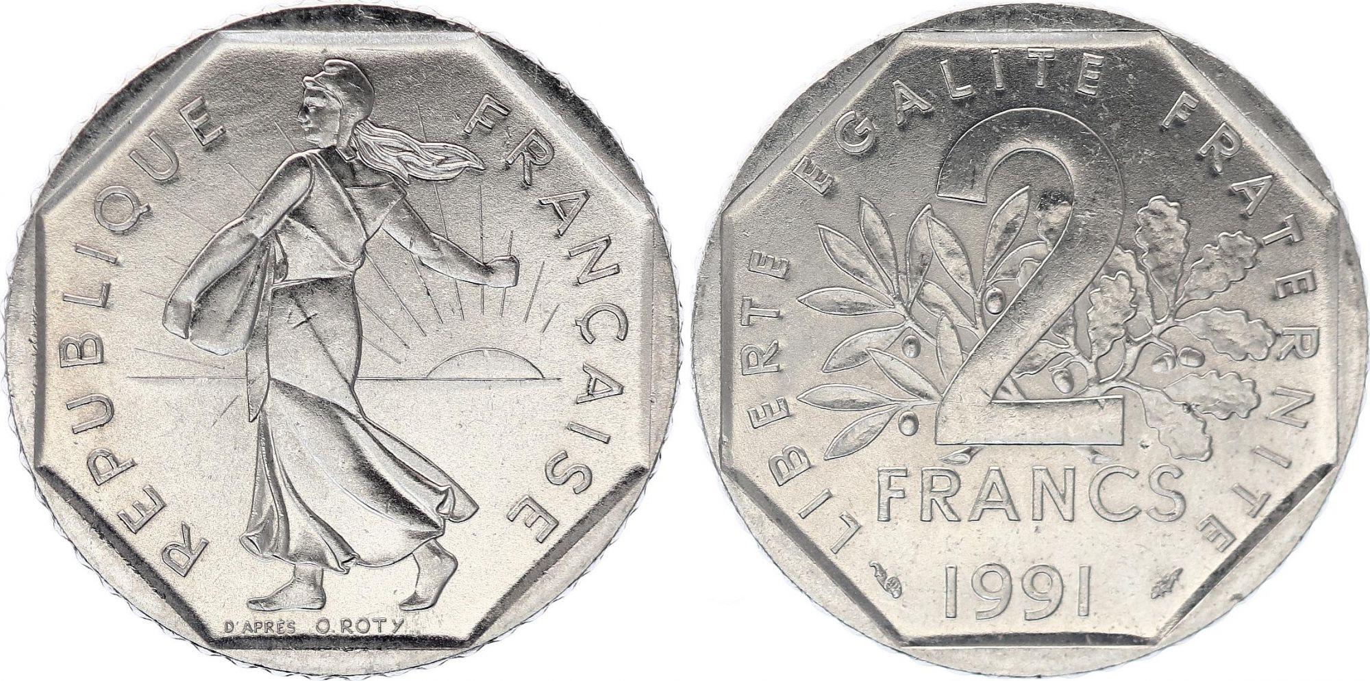 France 2 Francs Seed sower - 1991