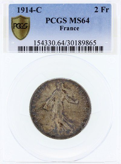 France 2 Francs Semeuse -1914 C - PCGS MS 64