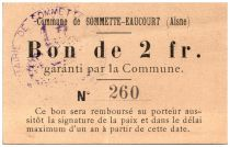 France 2 Francs Sommette-Eaucourt City - 1915