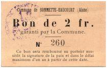 France 2 Francs Sommette-Eaucourt Commune - 1915