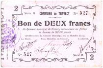 France 2 Francs Travecy Commune - 1915