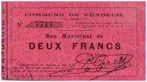 France 2 Francs Vendeuil City - 1914