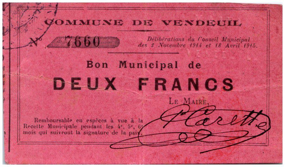France 2 Francs Vendeuil Commune - 1914 - 1915