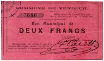 France 2 Francs Vendeuil Commune - 1914 - 1915