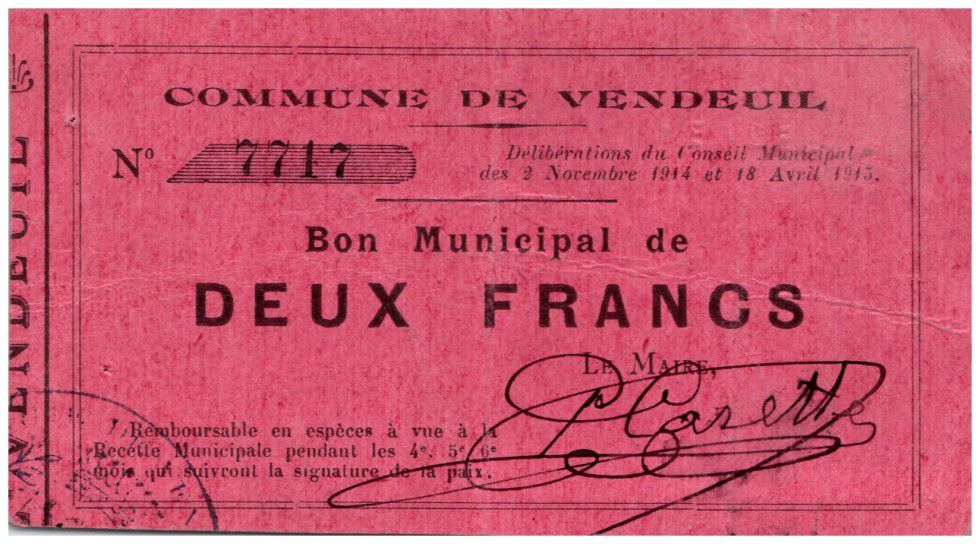 France 2 Francs Vendeuil Commune - 1914