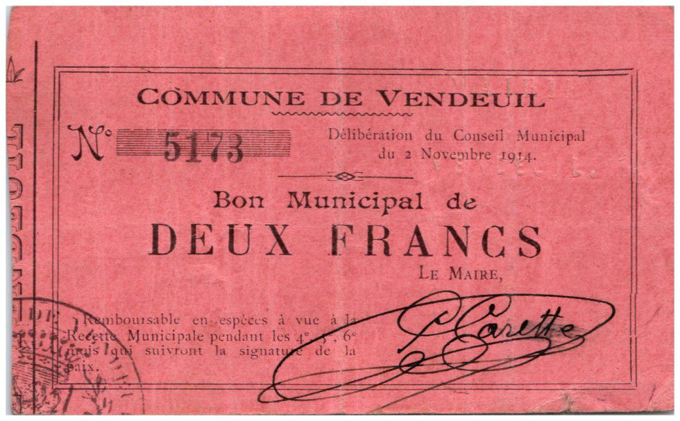 France 2 Francs Vendeuil Commune - 1914