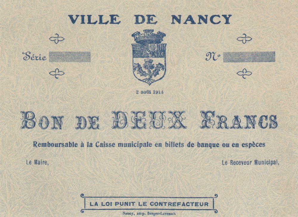 France 2 Francs Ville de Nancy - 02-08-1914 - SUP +