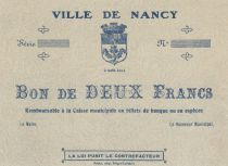 France 2 Francs Ville de Nancy - 02-08-1914 - SUP +