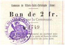 France 2 Francs Villers-Saint-Christophe City - 1915