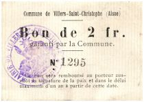 France 2 Francs Villers-Saint-Christophe Commune - 1915