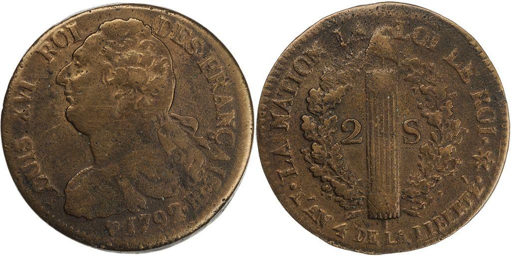 France 2 Sols - Louis XVI - Roi des Français - 1792 BB
