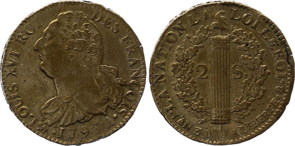 France 2 Sols - Louis XVI - Roi des François - 1791 A - Point sur le A - Etat Rare !