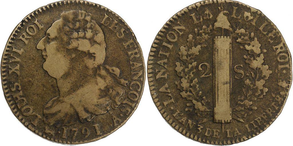 France 2 Sols - Louis XVI - Roi des François - 1791 A