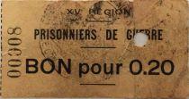 France 20 Centimes - Bon des Prisonniers de Guerre - 15e Région (Castres) - TB