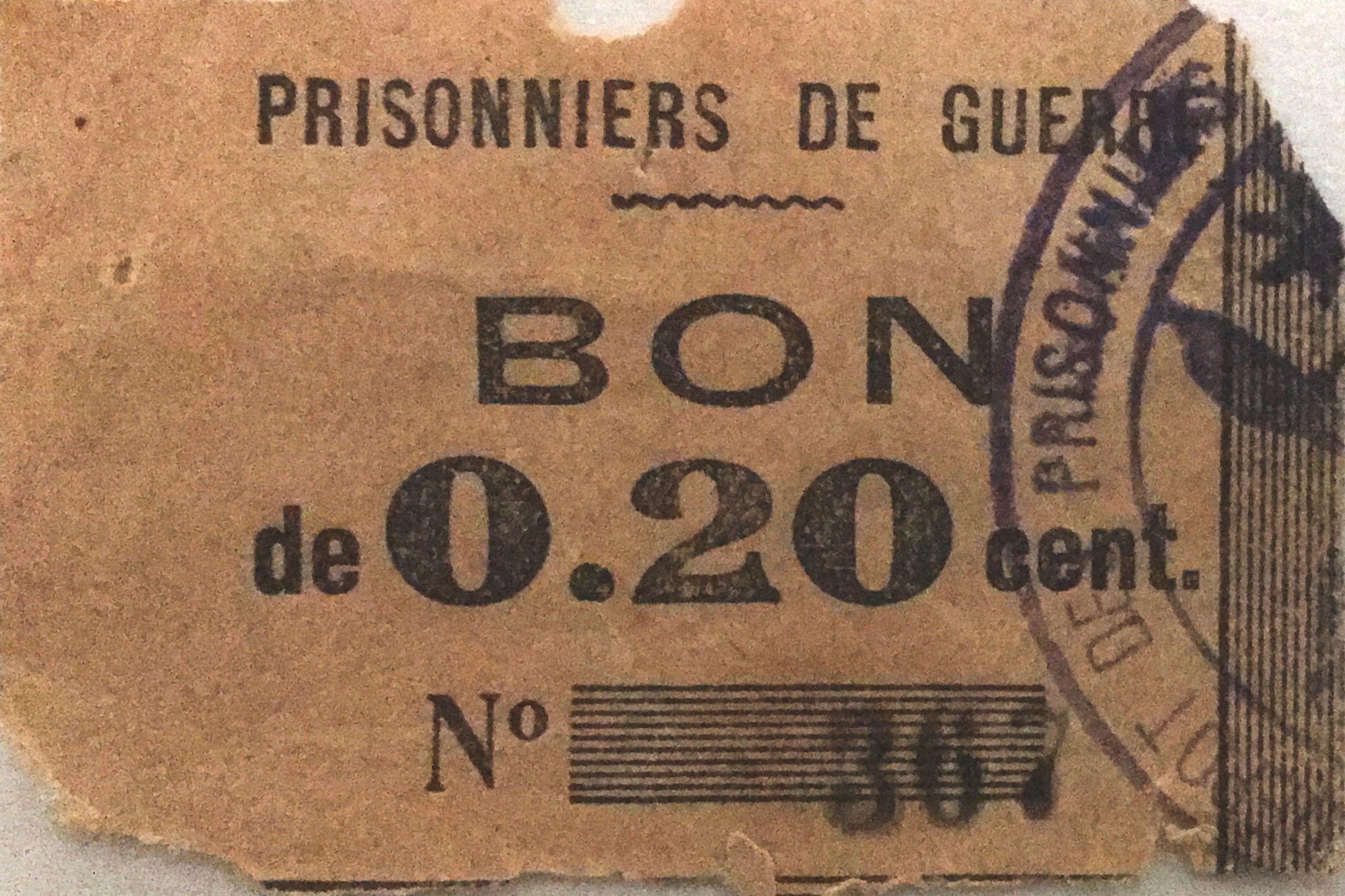France 20 Centimes - Bon des Prisonniers de Guerre - PTB