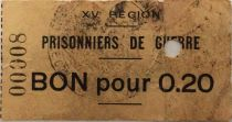 France 20 Centimes - WWI Prisoners Coupon - 15th Region (Castres) - F
