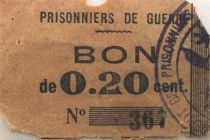France 20 Centimes - WWI Prisoners Coupon - VG to F