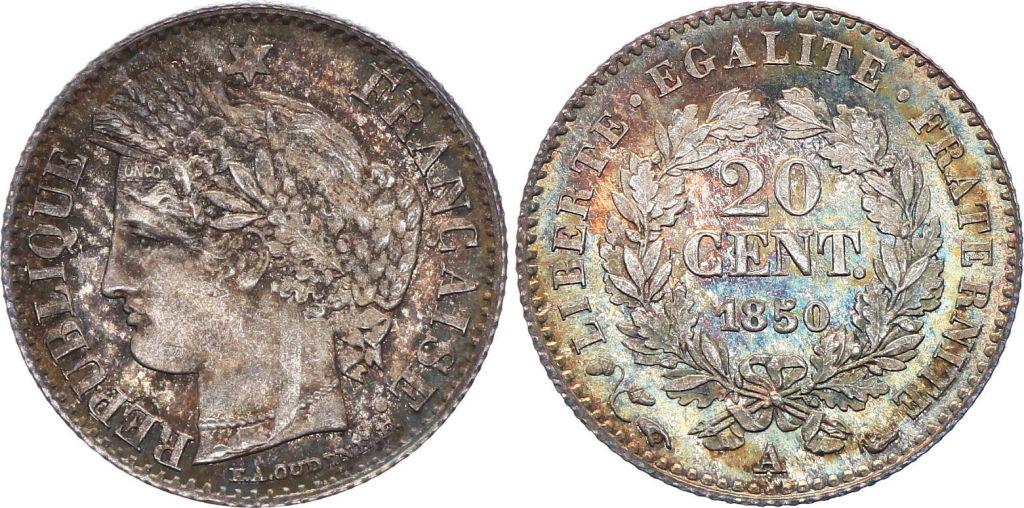 France 20 Centimes Ceres - 1850 A Paris Silver 3 th ex