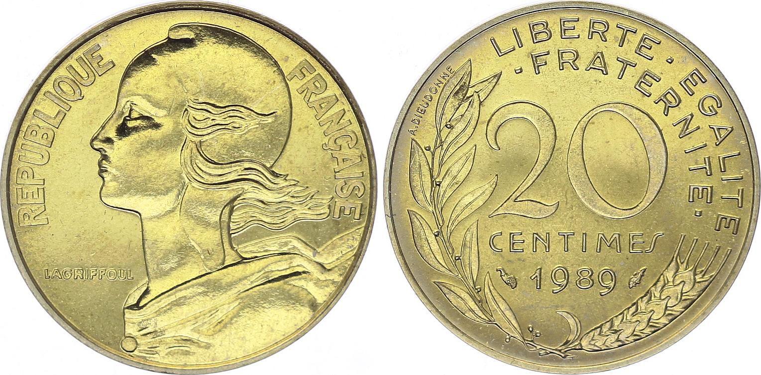 France 20 Centimes Marianne - 1989 issu de coffret BU
