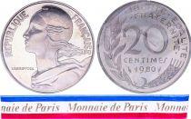 France 20 Centimes Marianne Piéfort 1980 - sous sachet Monnaie de Paris - Argent