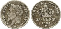 France 20 Centimes Napoleon III - 1866 BB Silver