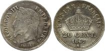 France 20 Centimes Napoleon III - 1867 A Paris Silver