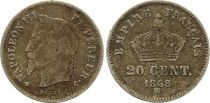 France 20 Centimes Napoleon III - 1868 BB Strasbourg Silver