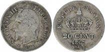 France 20 Centimes Napoléon III - Tête laurée 1867 K Bordeaux