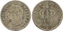 France 20 Centimes Napoléon III Tête Laurée - 1864 A Argent