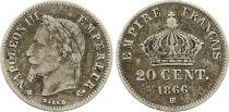 France 20 Centimes Napoléon III Tête Laurée - 1866 BB Argent