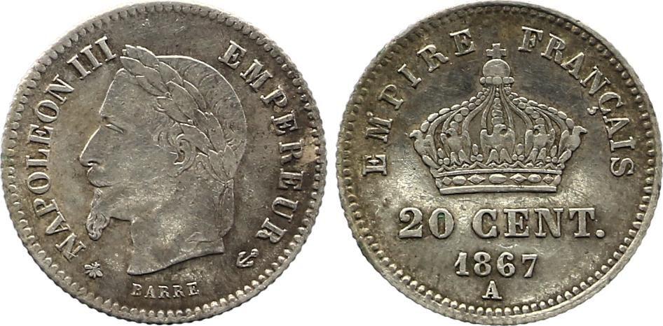 France 20 Centimes Napoléon III Tête Laurée - 1867 A  Argent