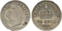 France 20 Centimes Napoléon III Tête Laurée - 1867 BB Argent