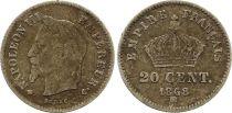 France 20 Centimes Napoléon III Tête Laurée - 1868 BB Argent